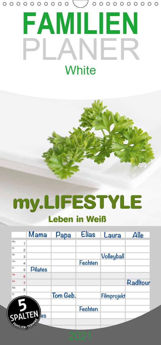 my.LIFESTYLE - Leben in Weiß - Familienplaner hoch (Wandkalender