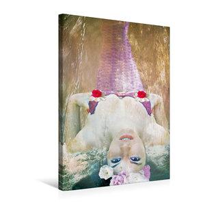 Premium Textil-Leinwand 50 cm x 75 cm hoch Nixe mit Blumen