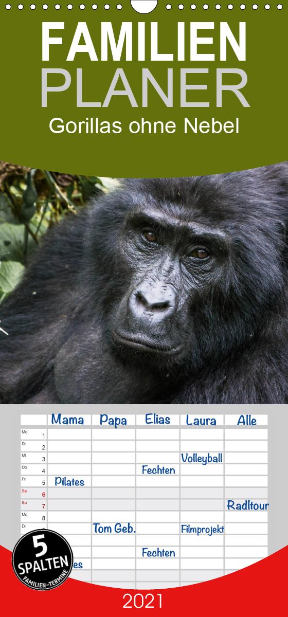 Gorillas ohne Nebel - Familienplaner hoch (Wandkalender 2021 , 2
