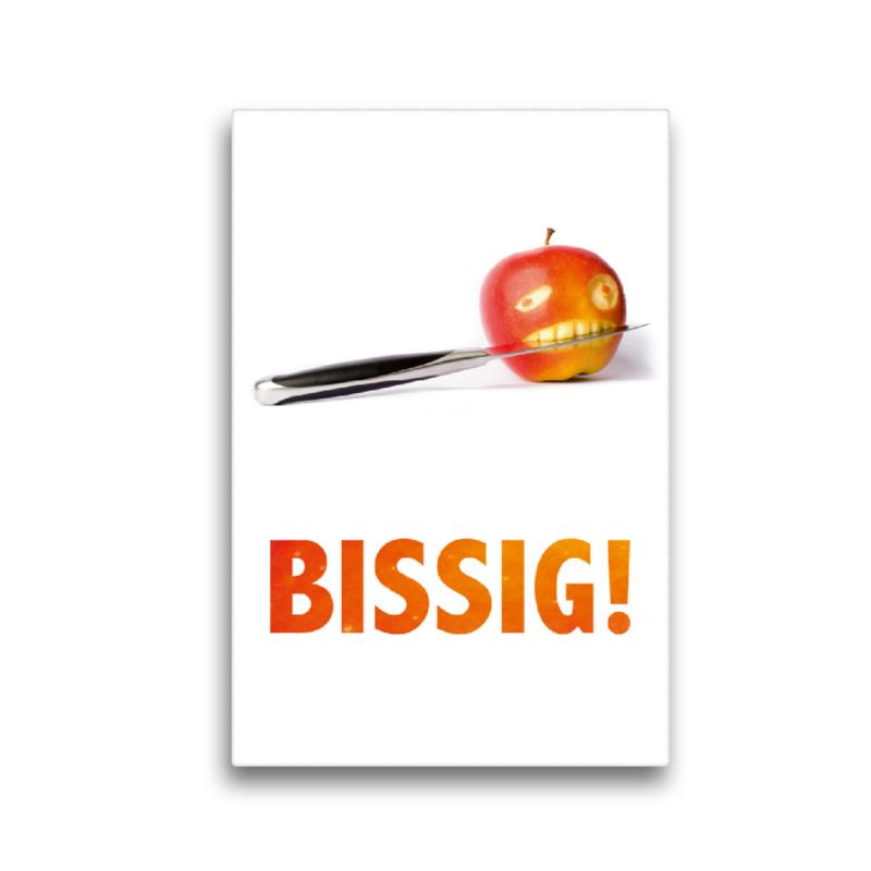 Premium Textil-Leinwand 30 cm x 45 cm hoch BISSIG - der Apfel wi