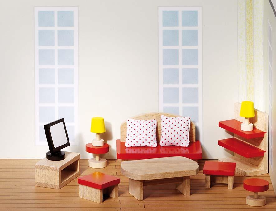 Goki 51716 - Puppenmöbel Wohnzimmer, goki basic, Holz