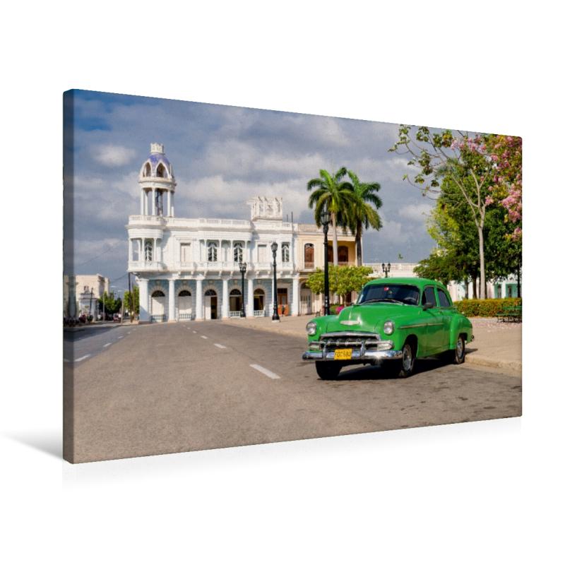 Premium Textil-Leinwand 75 cm x 50 cm quer Cuba Cars