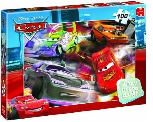Jumbo Spiele 13645 - Disney Cars: Glow in the Dark, 100 Teile Pu