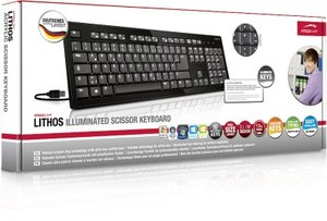 LITHOS Illuminated Scissor Keyboard, Tastatur, schwarz