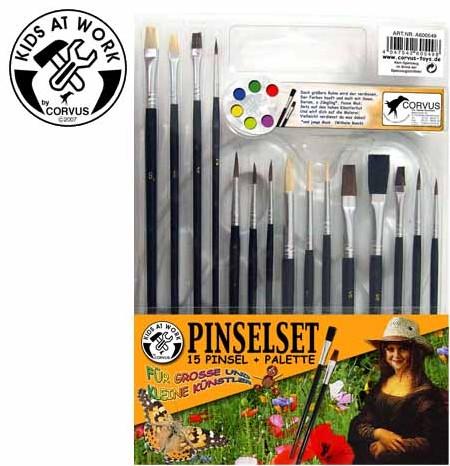 Corvus A600549 - Kids at work: Pinselset, 15 Pinsel, Pinselpalet