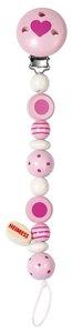 Goki 32420 - Schnullerkette Perlen gestreift und gepunktet, rosa