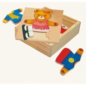 Bino 88048 - Ankleidepuzzle: Bärin, Holz Puzzle, 18 Teile