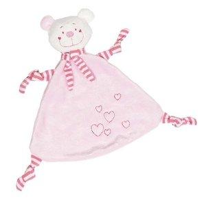 Goki 65114 - Kuscheltuch Bär (rosa) mit Herzen