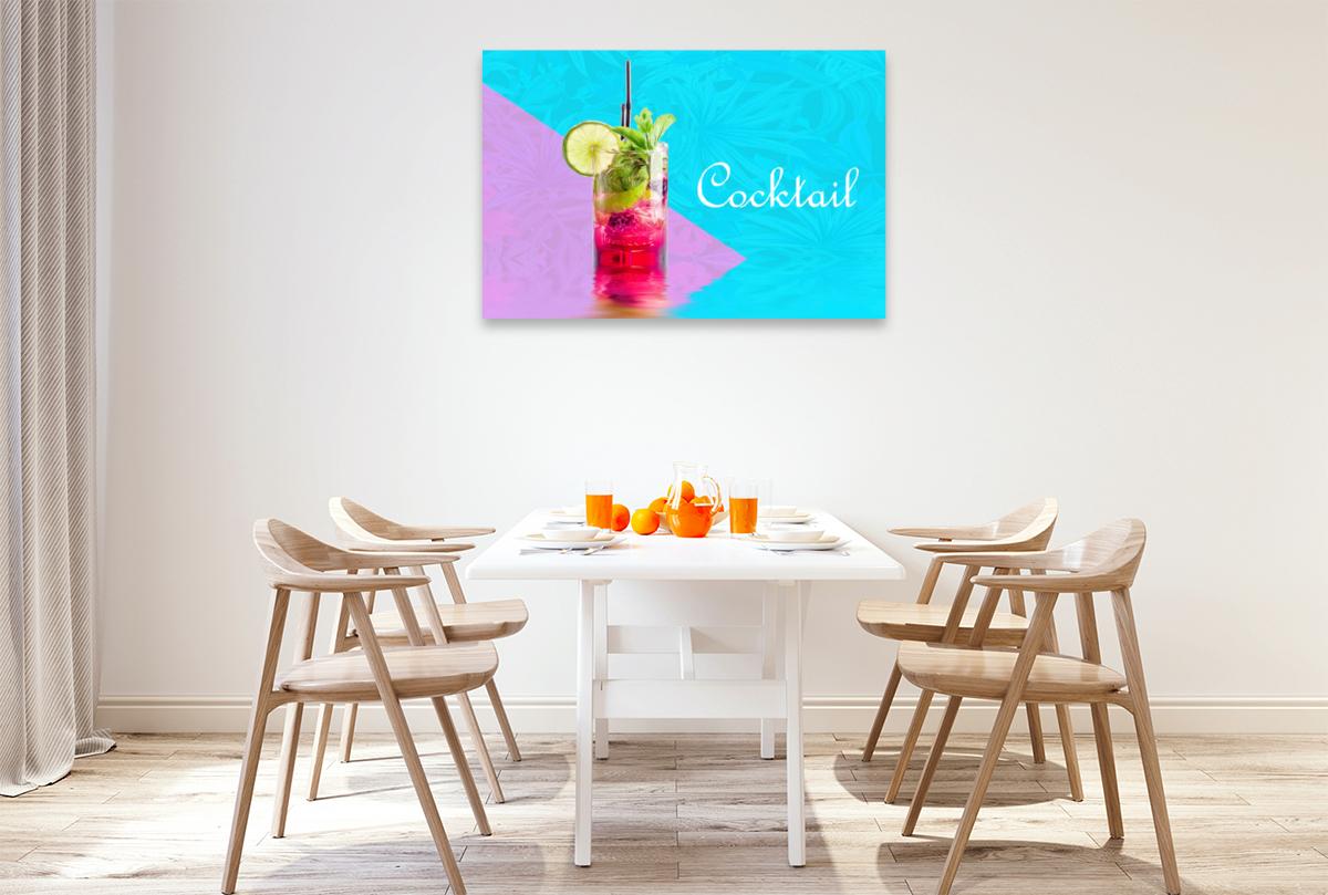Premium Textil-Leinwand 120 cm x 80 cm quer Cocktail