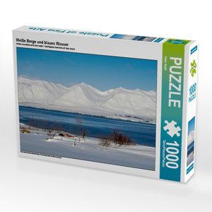 Weiße Berge und blaues Wasser 1000 Teile Puzzle quer