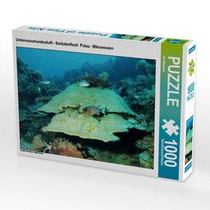 CALVENDO Puzzle Unterwasserlandschaft - Soldatenfisch  Palau - Mikronesien 1000 Teile Lege-Größe 64 x 48 cm Foto-Puzzle Bild von Niemann Ute