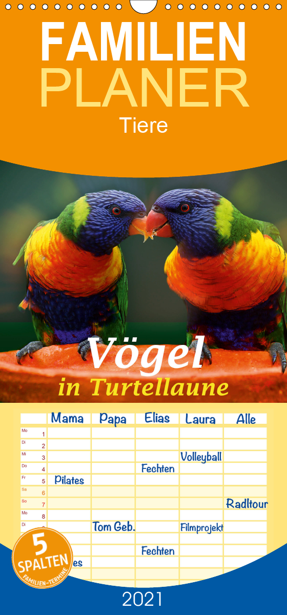 Vögel in Turtellaune - Familienplaner hoch (Wandkalender 2021 ,