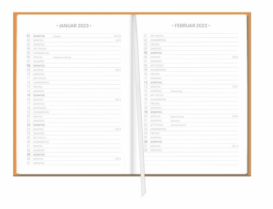 Neon Orange Kalenderbuch A5 Kalender 2022