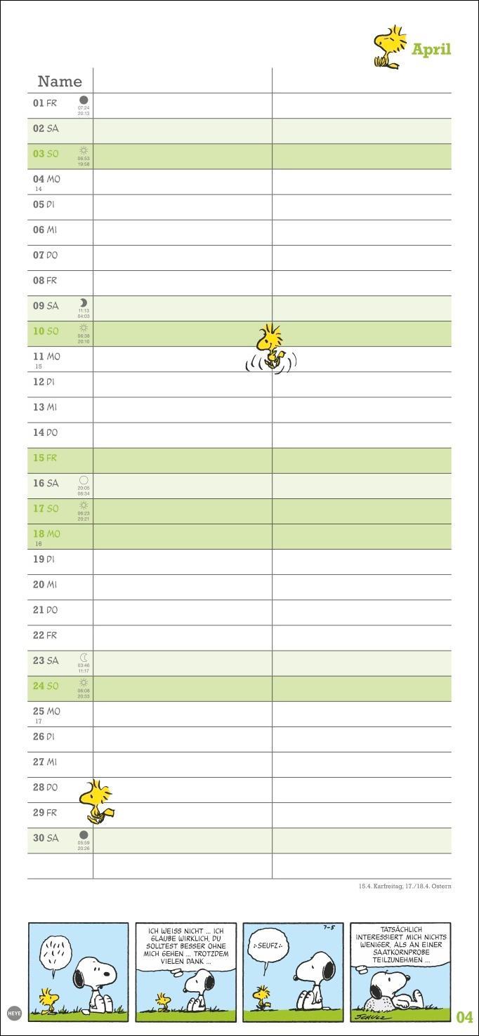 Peanuts Planer Wir zwei Kalender 2022