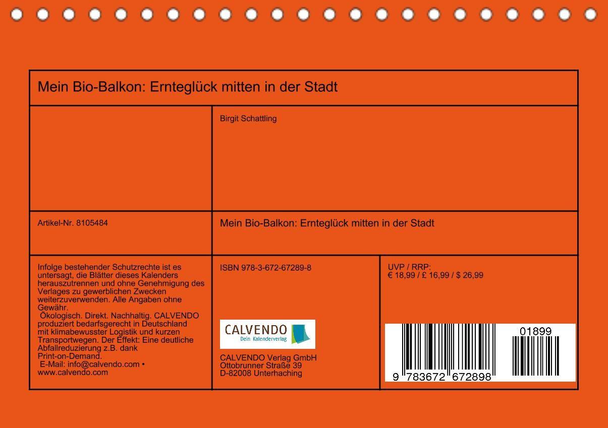 Mein Bio-Balkon: Ernteglück mitten in der Stadt (Tischkalender 2