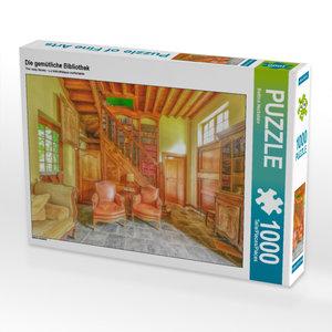 CALVENDO Puzzle Die gemütliche Bibliothek 1000 Teile Puzzle quer