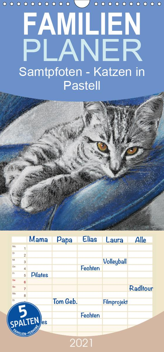 Samtpfoten - Katzen in Pastell - Familienplaner hoch (Wandkalend