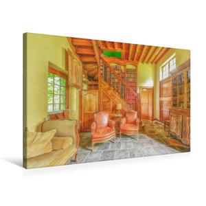 Premium Textil-Leinwand 75 cm x 50 cm quer Die gemütliche Bibliothek