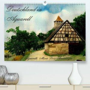 Deutschland in Aquarell (Premium, hochwertiger DIN A2 Wandkalender 2022, Kunstdruck in Hochglanz)