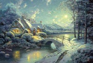 Winterliches Mondlicht THOMAS KINKADE COLLECTION PUZZLES 500 TEILE