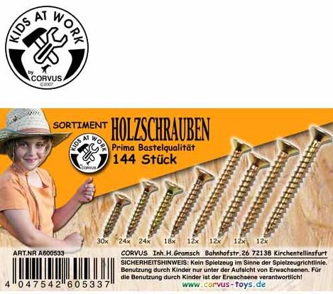 Corvus A600533 - Kids at work: Box Holzschrauben, gelb