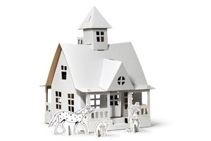 Calafant V7000X - Pippi Spielhaus: Villa Kunterbunt mit Pippi, Kleiner Onkel und Herr Nilsson , Bastelset, 34x34x48 cm