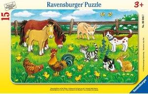 Ravensburger 06046 - Bauernhoftiere auf der Wiese, Rahmenpuzzle, 15 Teile