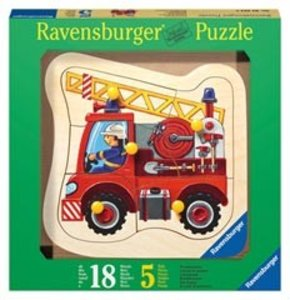 Feuerwehrauto. Holz-Konturpuzzle