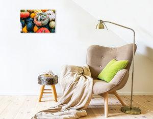 Premium Textil-Leinwand 45 cm x 30 cm quer Bunte K?rbis Vielfalt