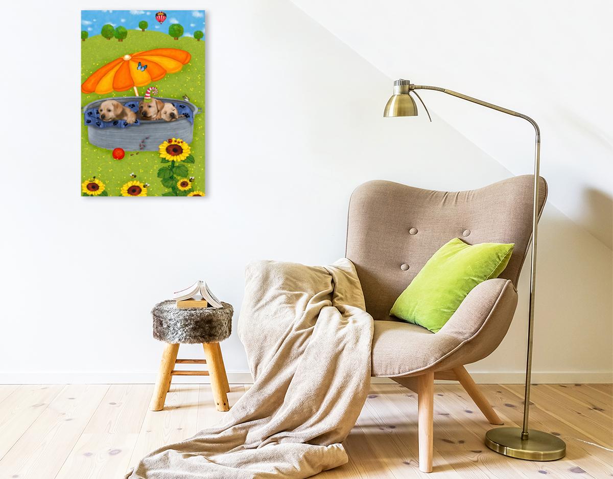 Premium Textil-Leinwand 50 cm x 75 cm hoch Meine Welpen Tim, Tom