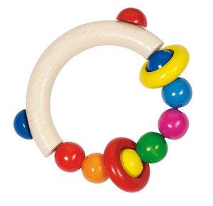 HEIMESS 34300 - Greifling halbrund mit Perlen und 2 Ringen, Holz