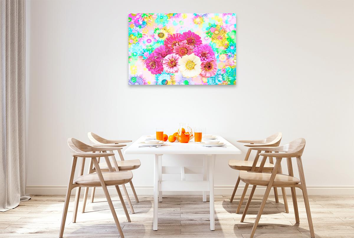 Premium Textil-Leinwand 120 cm x 80 cm quer Blumenpower