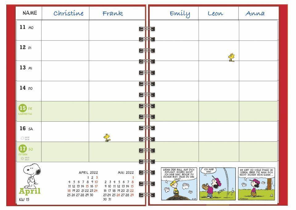 Peanuts Familienplaner Buch A5 Kalender 2022