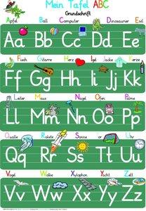 Mein Tafel ABC in Grundschrift Lernposter, glänzend