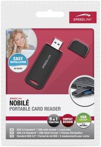 NOBILE kompakter 9-in-1 Kartenleser USB 3.0, schwarz