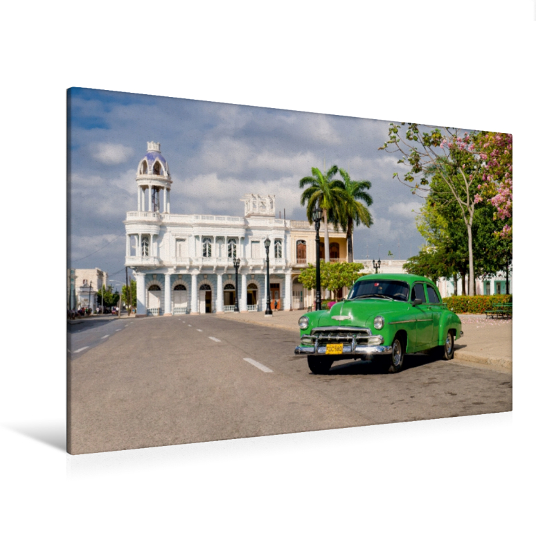 Premium Textil-Leinwand 120 cm x 80 cm quer Cuba Cars