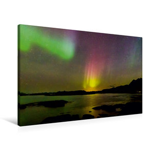 Premium Textil-Leinwand 90 cm x 60 cm quer Aurora Lofotis: Polar