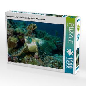 CALVENDO Puzzle Meeresschildkröte - Chelonia mydas  Palau - Mikronesien 1000 Teile Lege-Größe 64 x 48 cm Foto-Puzzle Bild von Niemann Ute