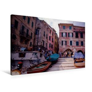 Premium Textil-Leinwand 90 cm x 60 cm quer Cinque Terre, Hafenst?dchen; Italien
