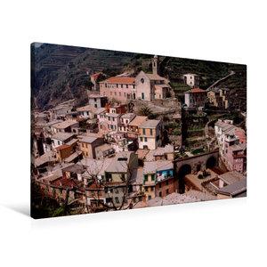 Premium Textil-Leinwand 90 cm x 60 cm quer Cinque Terre Küstenstadt Vernazza, Italien