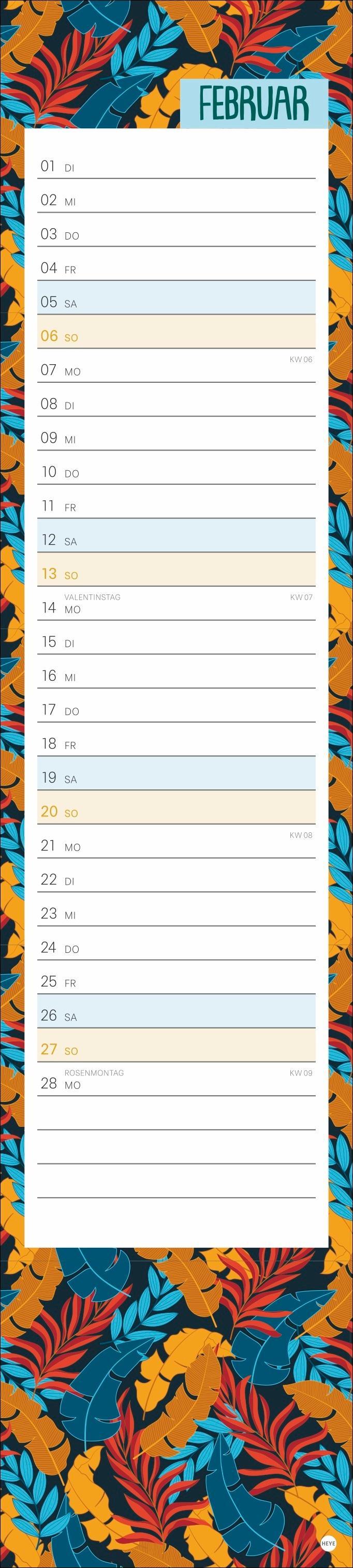 Tropical Leaves long Kalender 2022