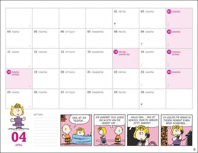 Peanuts Monatsplaner Kalender 2022