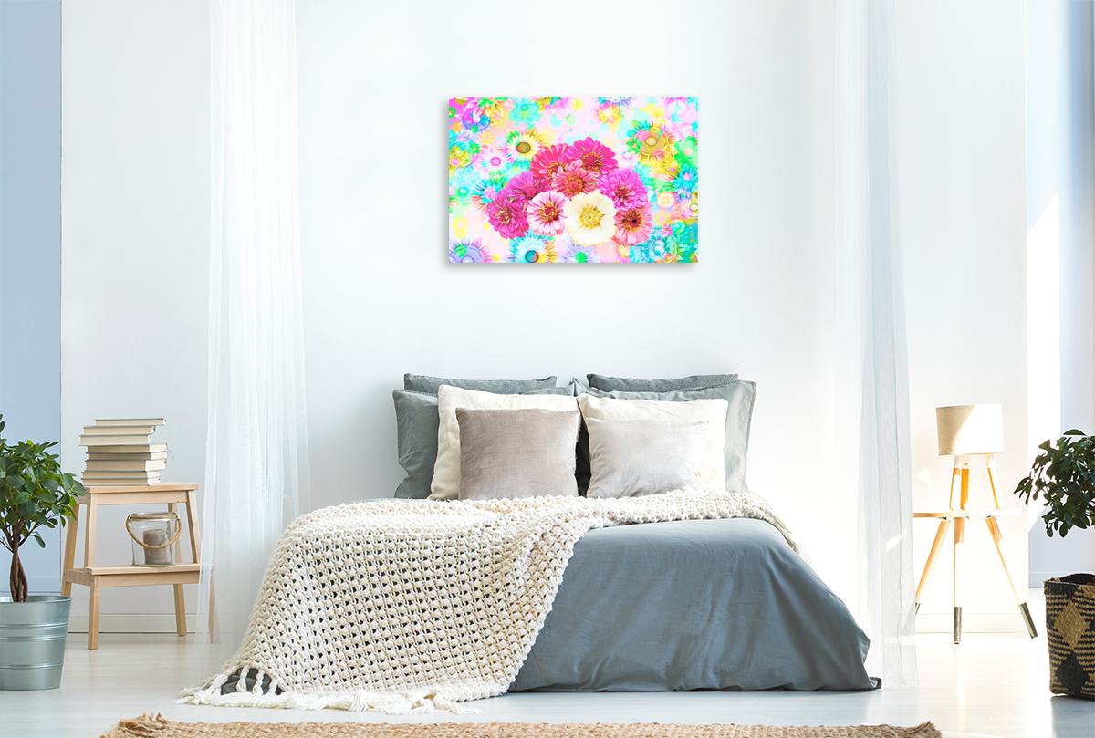 Premium Textil-Leinwand 90 cm x 60 cm quer Blumenpower