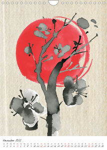 Sumi-e Kunst im japanischen Stil (Wandkalender 2022 DIN A4 hoch)