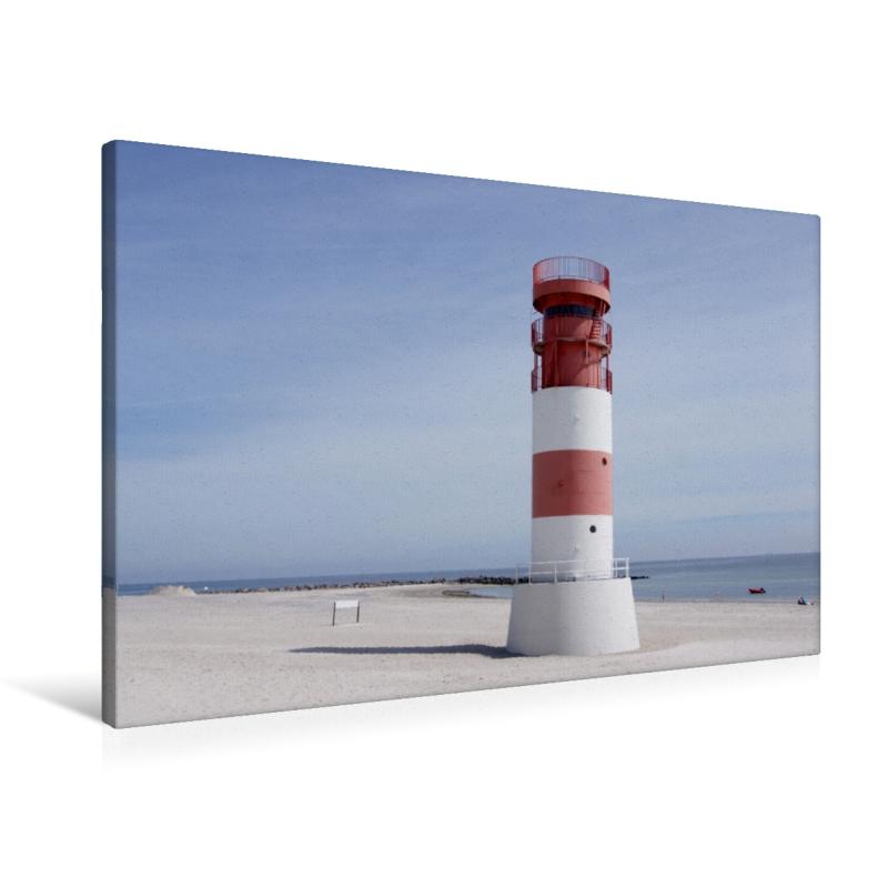 Premium Textil-Leinwand 90 cm x 60 cm quer Leuchtturm auf Helgol