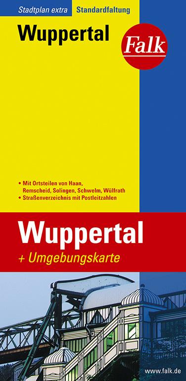 Falk Stadtplan Extra Standardfaltung Wuppertal