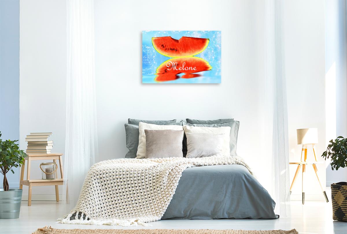 Premium Textil-Leinwand 90 cm x 60 cm quer Melone