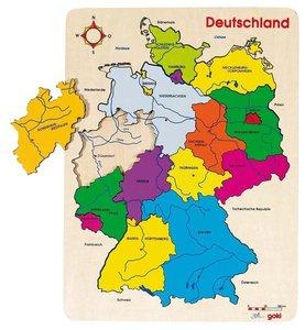 Goki 57860 - Einlegepuzzle Deutschland II, Puzzle Deutschland, H