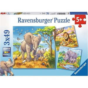 Ravensburger 08003 - Wilde Giganten, Puzzle, 3 x 49 Teile