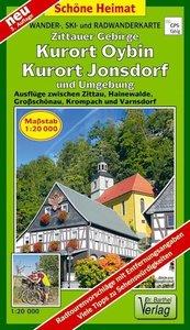 Wander- und Radwanderkarte Zittauer Gebirge, Oybin, Jonsdorf und